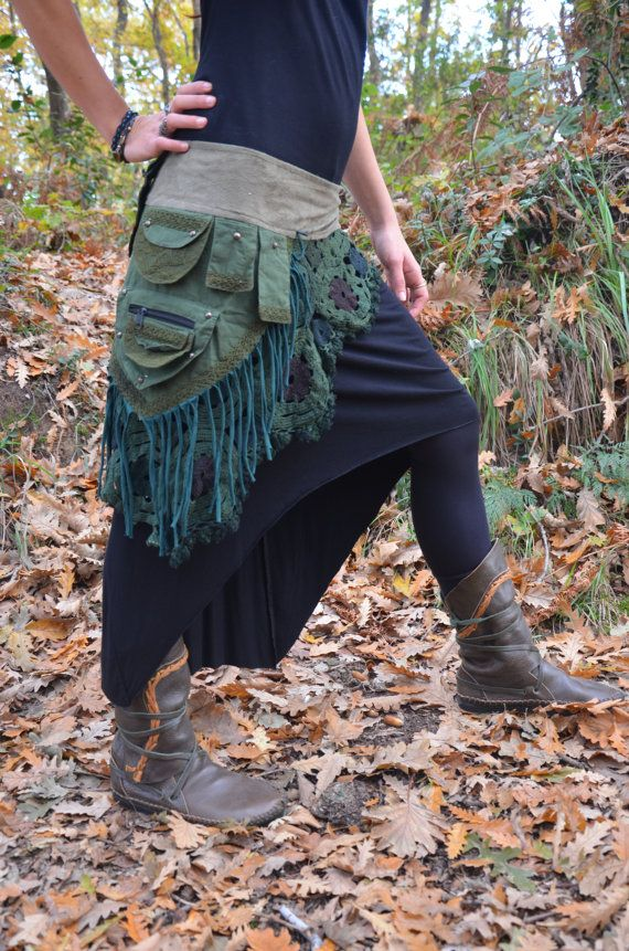 Steampunk Skirt Belt with multiple pockets Crochet by IrkaShop