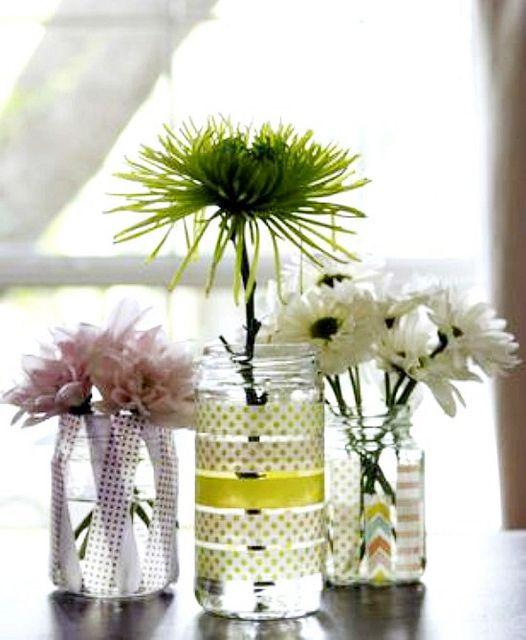 washi tape vases http://hisugarplum.blogspot.co.uk/2013/06/5-washi-tape-projects-that-time-i-was.html