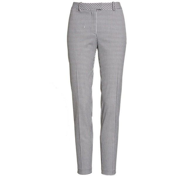 Women's Altuzarra Henri Gingham Stretch Cotton Pants ($795) ❤ liked on Polyvore featuring pants, checkered pants, skinny leg pants, skinny fit pants, ankle length pants and white slim pants