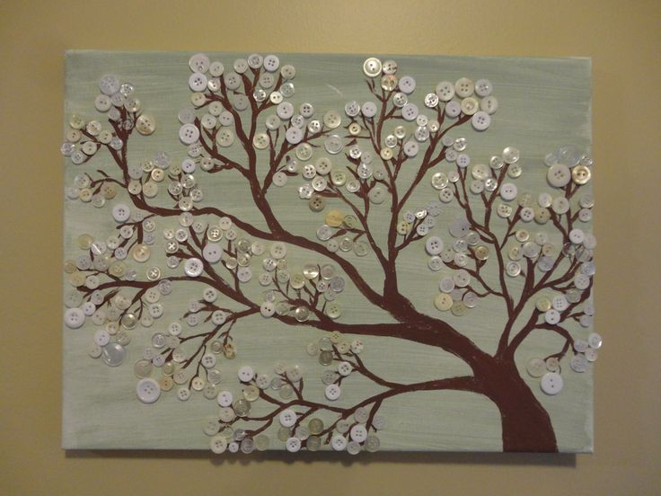 Made this button tree on canvas button trees on canvas for Pinterest art ideas for adults