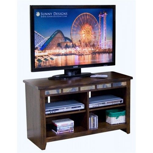 """Oxford collection distressed dark oak finish wood 42"""" TV media stand with 4 open shelves and slat inlay"""