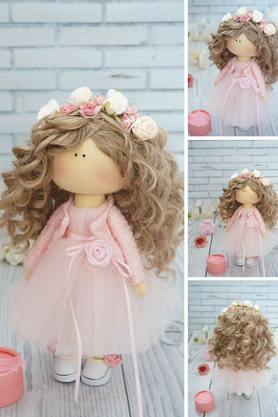Poupée Art doll Puppen Gift for her Soft doll Rag doll Tilda