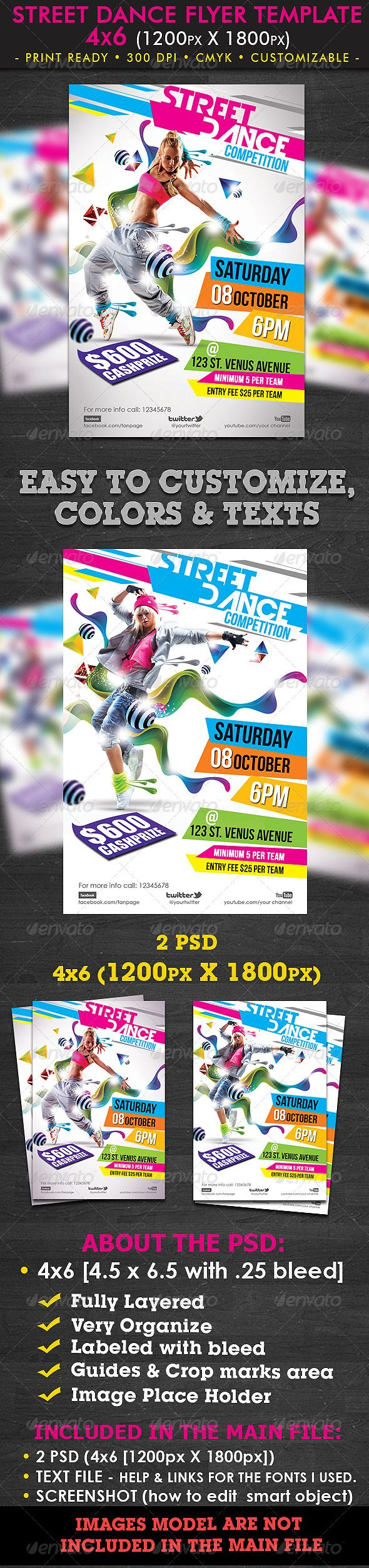 Street Dance Flyer Template  #GraphicRiver         This flyer can also be used for your Club event, Birthday bash, Dance contest etc.