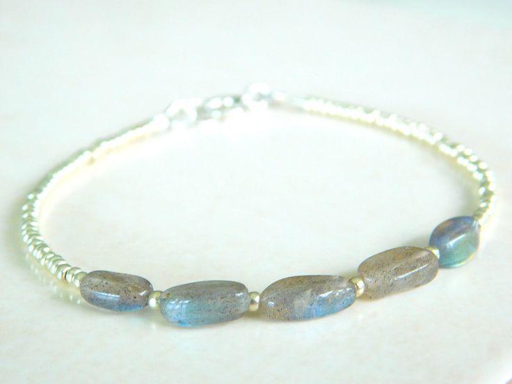 Labradorite Bracelet, Beaded Bracelet, Seed bead bracelet, Boho Chic, Layering Bracelet by jljewellerydesign on Etsy