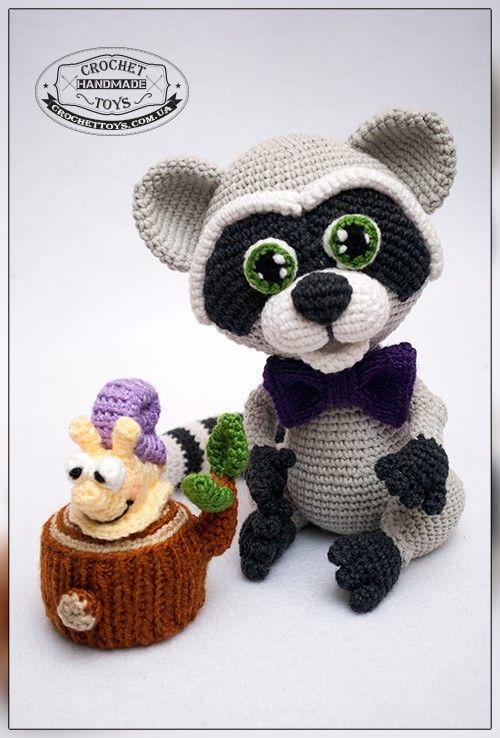 Вязаный енот Тишка. CrochetToys. Игрушки ручной работы
