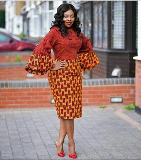 Mixed chitenge dress with wide sleeves kanyget fashions +