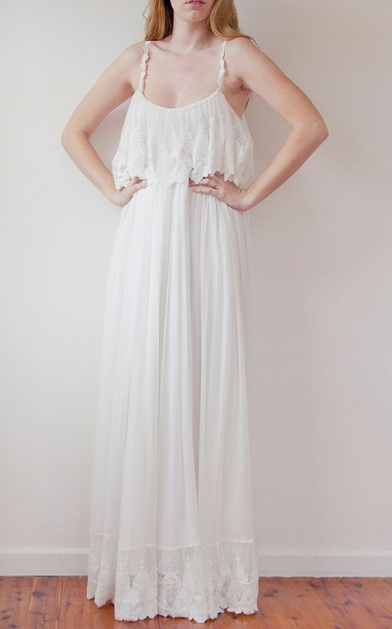 French lace Ivory Bohemian wedding dress by GraceLovesLace on Etsy, $930.00