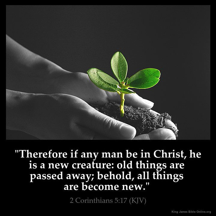 """""""Therefore if any man be in Christ, he is a new creature: old things are passed away; behold, all things are become new.""""  2 Corinthians 5:17 (KJV)"""