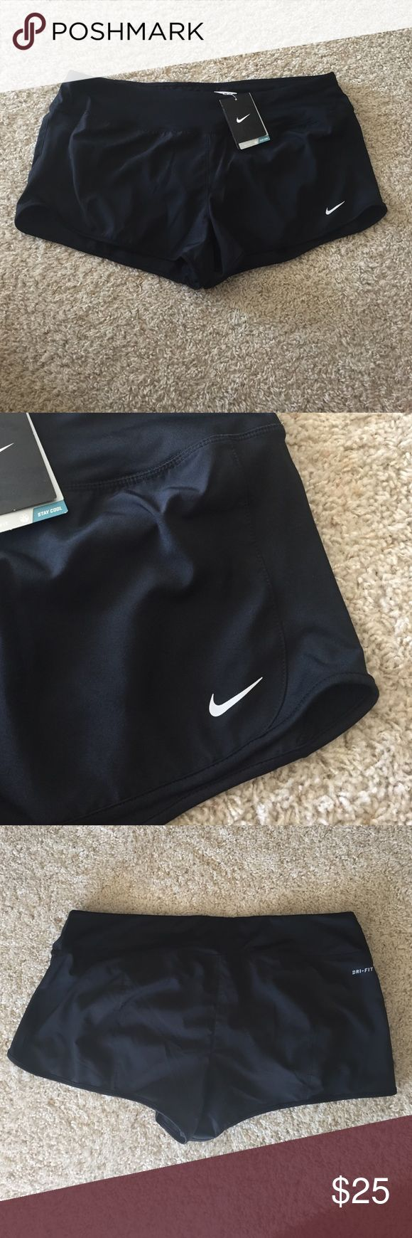 Nike Running Dri Fit Shorts Black on black Nike shorts with Dri fit technology. Has interior lining. No trades. Nike Shorts