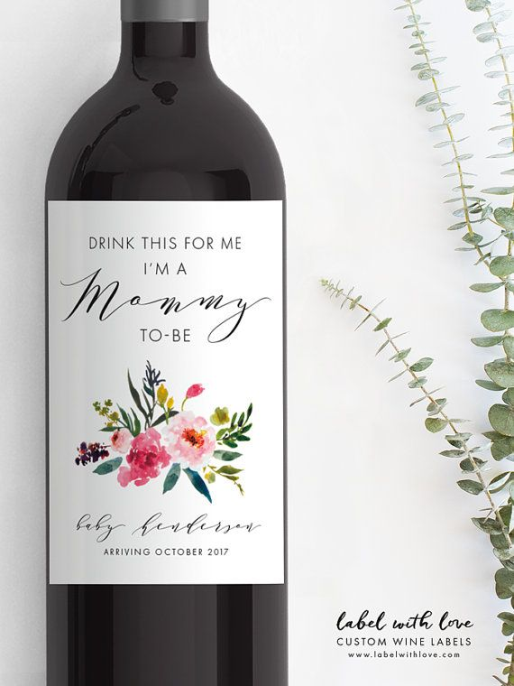 Pregnancy Announcement Wine Bottle Label Custom by LabelWithLove