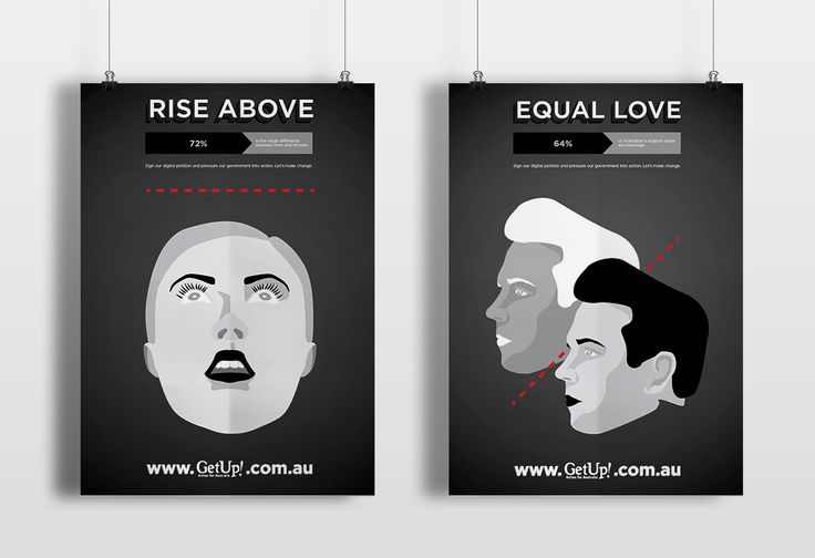 Get Up! Australia campaign targeting inequality : the gender pay gap / gay marriage rights. Artwork and design by Peter Hong. peterhong.com.au