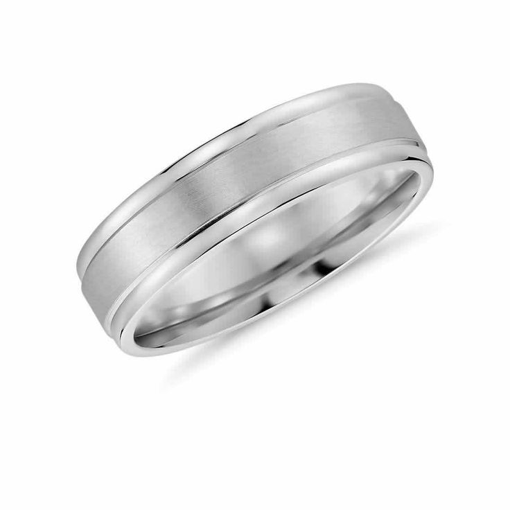 Brushed Inlay Wedding Band in 9K White Gold () | The Diamond Channel, Johannesburg