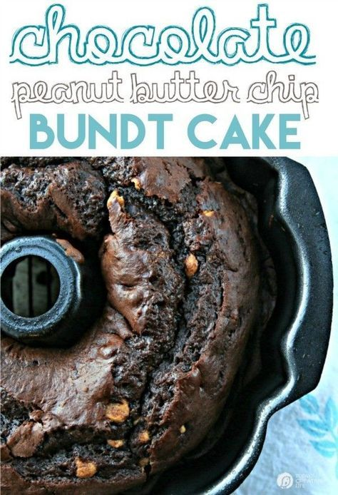Chocolate Peanut Butter Chip Bundt Cake | Using a cake mix, instant pudding and a few other ingredients, makes this bundt cake the best cake recipe ever! Click the photo for the recipe!  | Cake Recipes