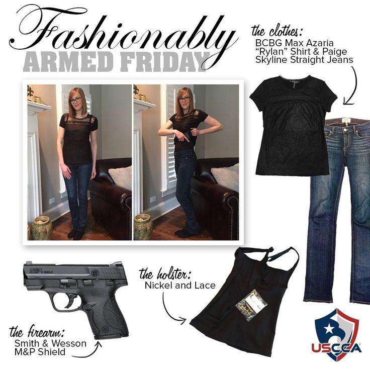 "Today Marylin S. Founder of Nickel and Lace conceals her Smith & Wesson M&P Shield inside her Nickel and Lace shapewear-style holster under her BCBG Max Azaria ""Rylan"" Shirt & Paige Skyline Straight jeans."