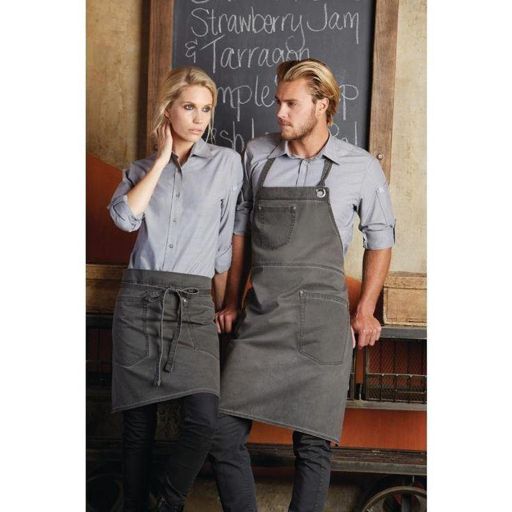 Delantal con peto color gris envejecido unisex Chef Works Dorset