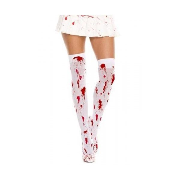 ACST07 Bloody Thigh High Stockings Tights Hosiery ($10) ❤ liked on Polyvore featuring intimates, hosiery, tights, white thigh high stockings, nylon hosiery, white stockings, thigh high hosiery and red pantyhose