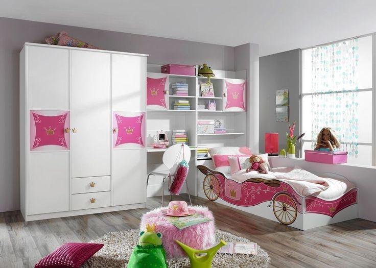 Kinderzimmer komplett Kate Weiß Rosa 8375. Buy now at https://www.moebel-wohnbar.de/jugendzimmer-kate-maedchenzimmer-prinzesinnenzimmer-weiss-rosa-8375.html