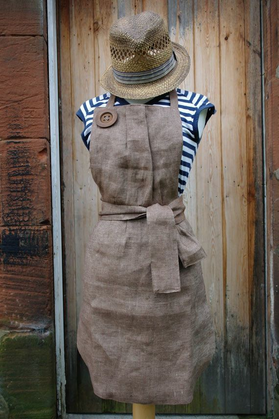 Handmade linen apron with two wooden buttons by KnockKnockLinen, £55.00--this would be such a cute dress!