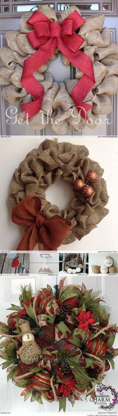 Burlap Christmas wreaths,  sue, patsy, phoebie