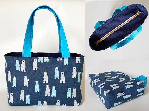 Blue canvas tote bag canvas tote bag with zipper zippered