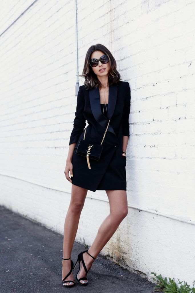 All black tux dress, bag and shoes. A simple yet so sophisticated outfit. Via Annabelle Fleur Dress: Ministry of Style, Sandals: Carvela, Bag: Saint Laurent, Sunglasses: Express