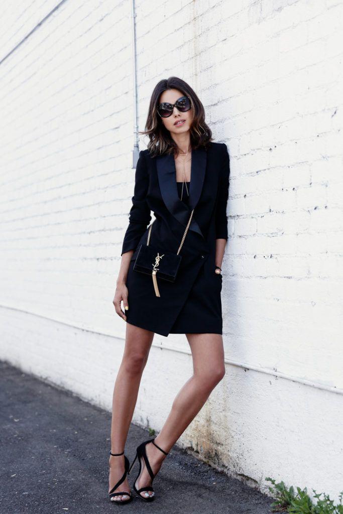 All black tux dress, bag and shoes. A simple yet so sophisticated outfit. Via Annabelle Fleur Dress: Ministry of Style, Sandals: Carvela, Bag: Saint Laurent, Sunglasses: Express
