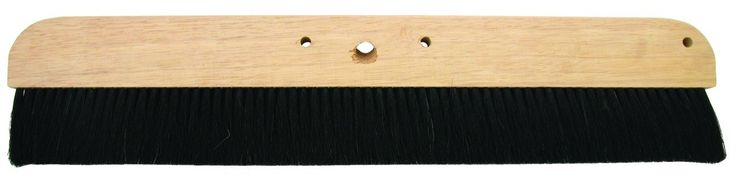 MARSHALLTOWN The Premier Line 6596 18 with Inch Natural Horsehair Broom with Wood Block. Long wearing 2 1/2-Inch 100-Percent horsehair bristles set solidly into a natural lacquered hardwood block. Threaded hole accepts any standard broom handle. Ideal for applying non-slip finish to newly finished concrete surfaces. Set in a thin style hardwood block.