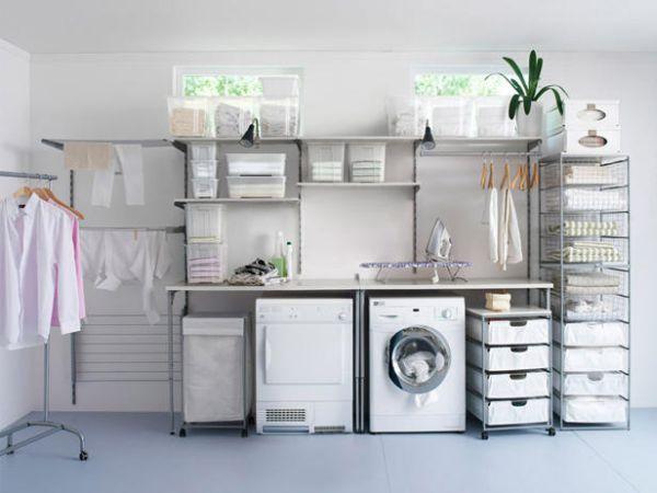 waschküche einrichten möbel waschmaschine trockner wandregale kisten