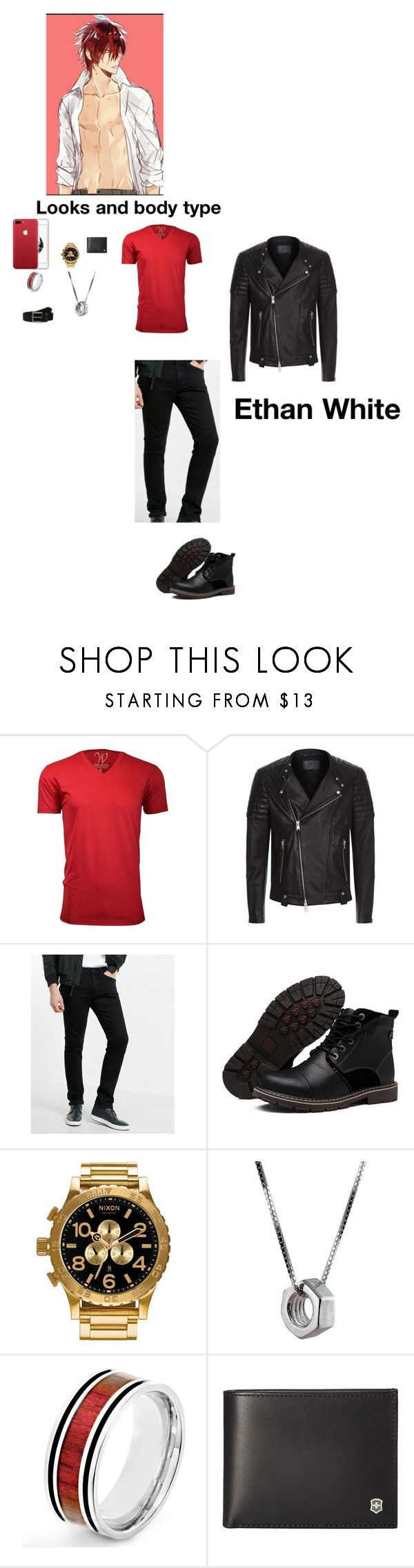 """""""Ethan White"""" by dragonheartse ❤ liked on Polyvore featuring Ethan Williams, AllSaints, Express, Nixon, Edge Only, West Coast Jewelry, Victorinox Swiss Army, Timberland, men's fashion and menswear"""