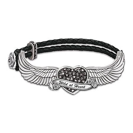 Free As The Wind Swarovski Crystal Heart Leather Bracelet