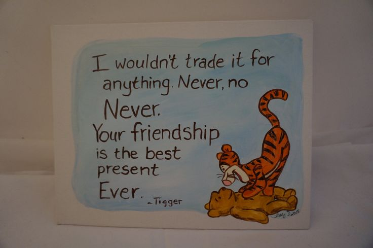 Hand painted 8x10 flat canvas Classic Winnie the Pooh and Tigger quote about friends friendship by MoonbeamsBearDreams on Etsy