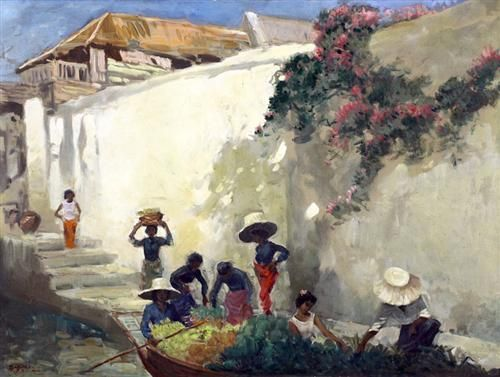 Kampung Scene - Basuki Abdullah - Realism