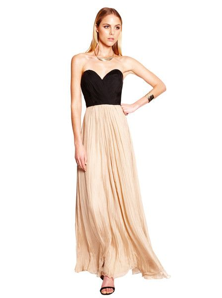 TRUESE - Bella Maxi - Noir - Almond - Classic Formal - Gown - Graduation Dress - Silk - Chiffon - Wedding - Ball  $$319.90