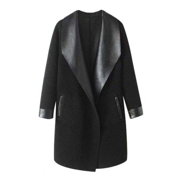 Plain Lapel Columbia PU Faux Fur Open Front Long Coat (3.640 RUB) ❤ liked on Polyvore featuring outerwear, coats, long lapel coat, longline coat, columbia coats, long coat and imitation fur coats