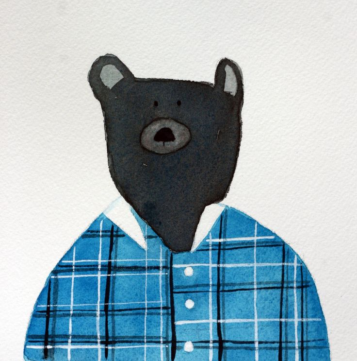 Bear original watercolor, grey and turquoise, children's art, bear in flannel shirt, square, whimsical, simple, bear in clothes, nursery art by TerraBlueArt on Etsy https://www.etsy.com/au/listing/398362709/bear-original-watercolor-grey-and