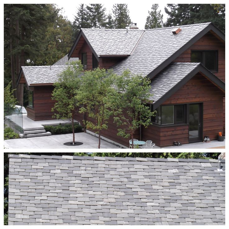 "Custom slate roof in West Vancouver, BC.  Blend of Unfading Black, Grey/Black and Vermont roofing slates, 1/2"" thickness, random width and staggered butt."