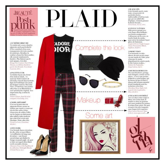 """Plaid: punk&chic"" by marianavegamiranda on Polyvore featuring moda, Cambio, Christian Dior, Winser London, Chanel, Garcia, Couture Colour, SCHA, LAQA & Co. y Christian Louboutin"