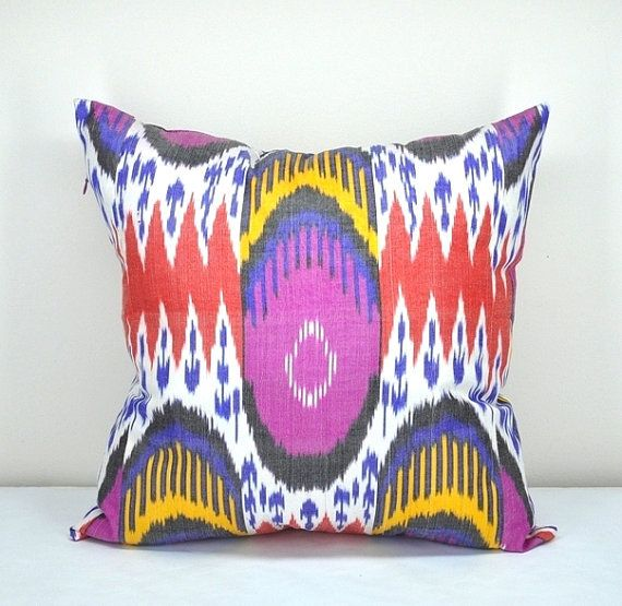 Fuschia and Yellow, Multi-coloured Ikat Cushion