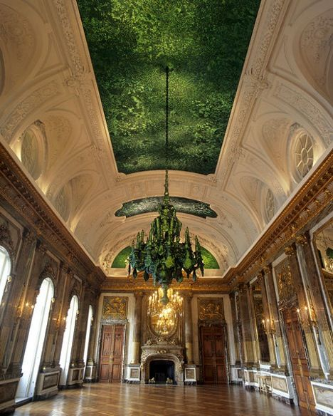 jan fabre. A ceiling decorated with 1.6 million beetle shells, at the Royal Palace in Brussels.