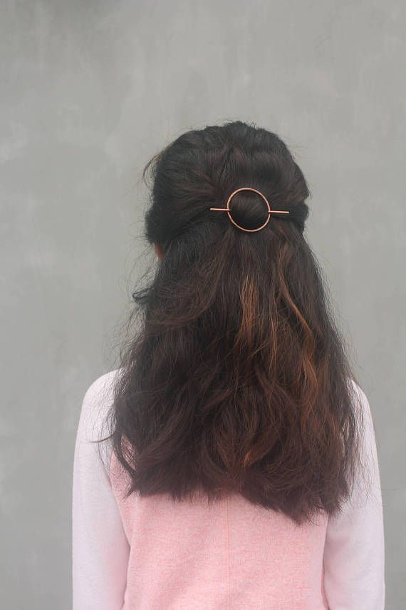 Open circle hair slide silver hair clip hammered brass hair barrette minimalist rustic copper hair accessories wholesale womans accessories ** SHIPPING NOTICE: Processing time for all orders will take 7-14 days ** Strong and sturdy in thick gauge wire, this minimalist hair slide will hold