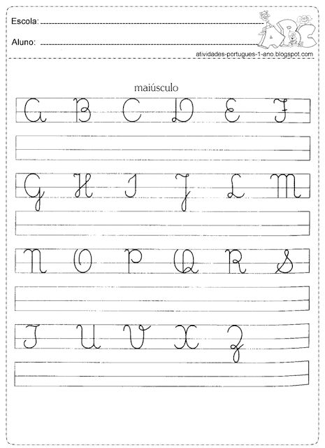 Copie o alfabeto em letra maiúscula
