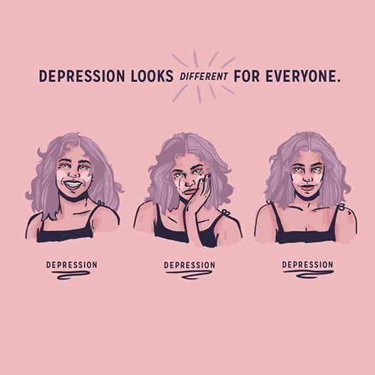 """""""La depresión se ve y se siente diferente para TODOS. Una persona puede proyectarse a sí misma …   – Suicide"""