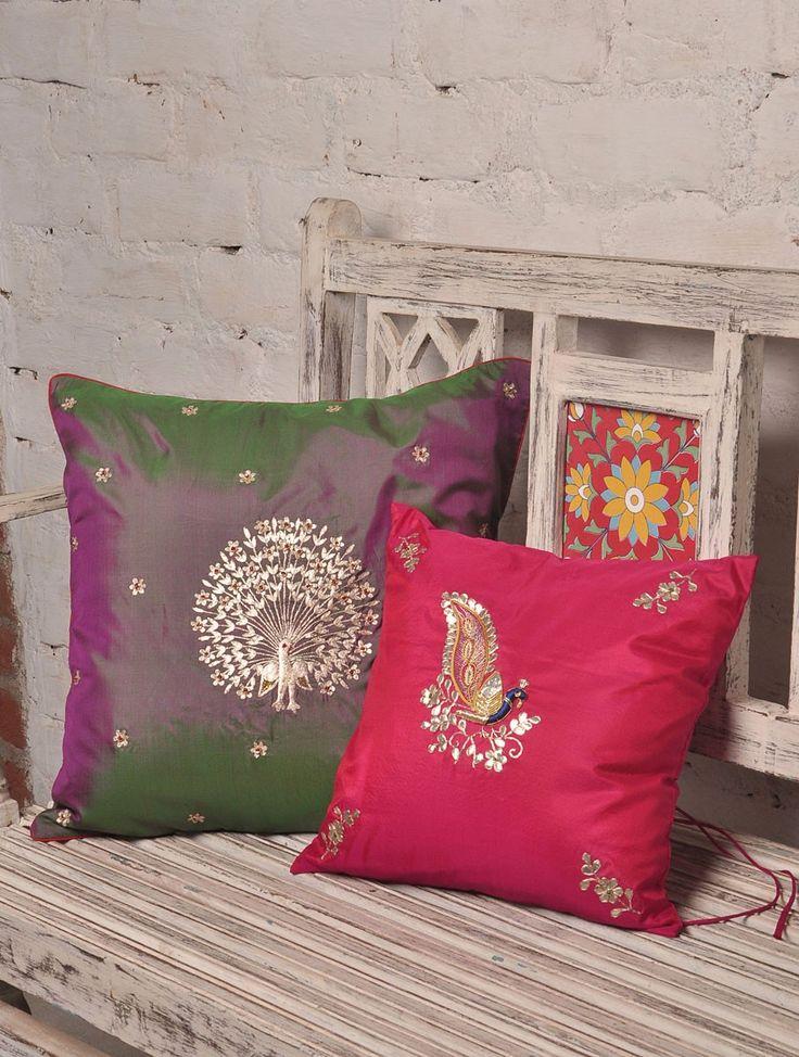 Pink Peacock Zardozi & Gotta Patti Silk Cushion Cover - 12in x 12in