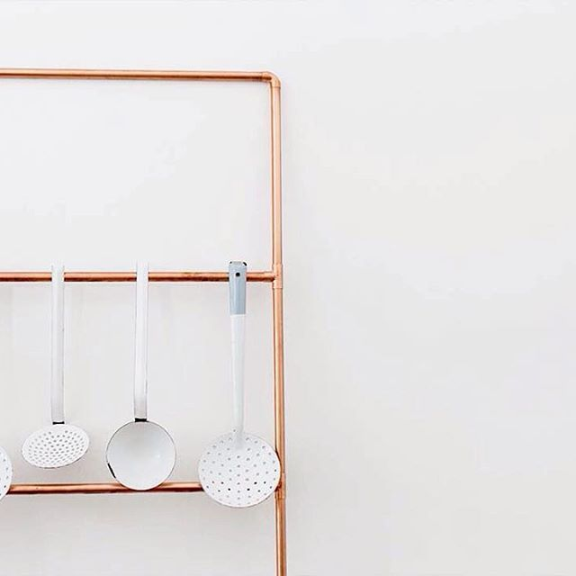 The Copper Ladder can serve many purposes. A kitchen towel & utensil rail is one. #BancHandcrafted