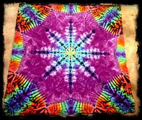 Tie Dyed Mandala Tapestry Lotus Flower Cotton