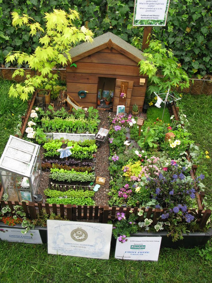 I know it's a tiny dollhouse size miniature ~ but wouldn't this be a great real-life sized garden to have... love the idea of a greenhouse & potting shed fenced right in my garden spot ~ #tinygarden