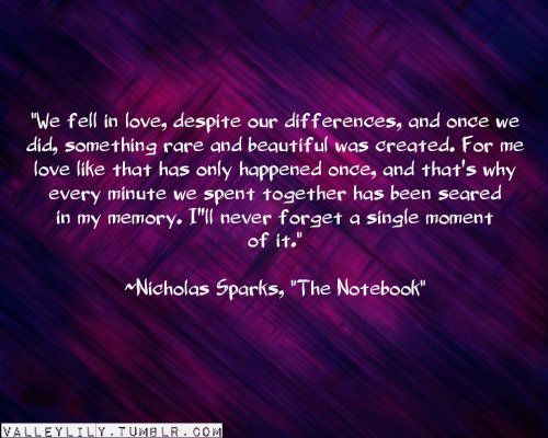 """We fell in love, despite our differences, and once we did, something rare and beautiful was created.  For me love that has only happened once, and that's why every minute we spend together has been seared in my memory.  I'll never forget a single minute of it. ~ Nickolas Sparks  """"The Notebook"""""""