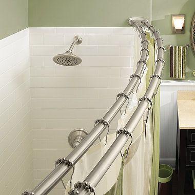 MoenR Adjustable Double Curved Brushed Nickel Shower Rod