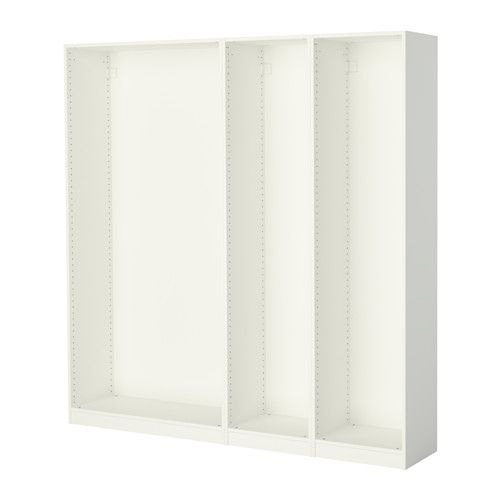 """IKEA - PAX, 3 wardrobe frames, white, 78 5/8x13 3/4x79 1/4 """", , If you want to organize inside you can complement with interior organizers from the KOMPLEMENT series."""