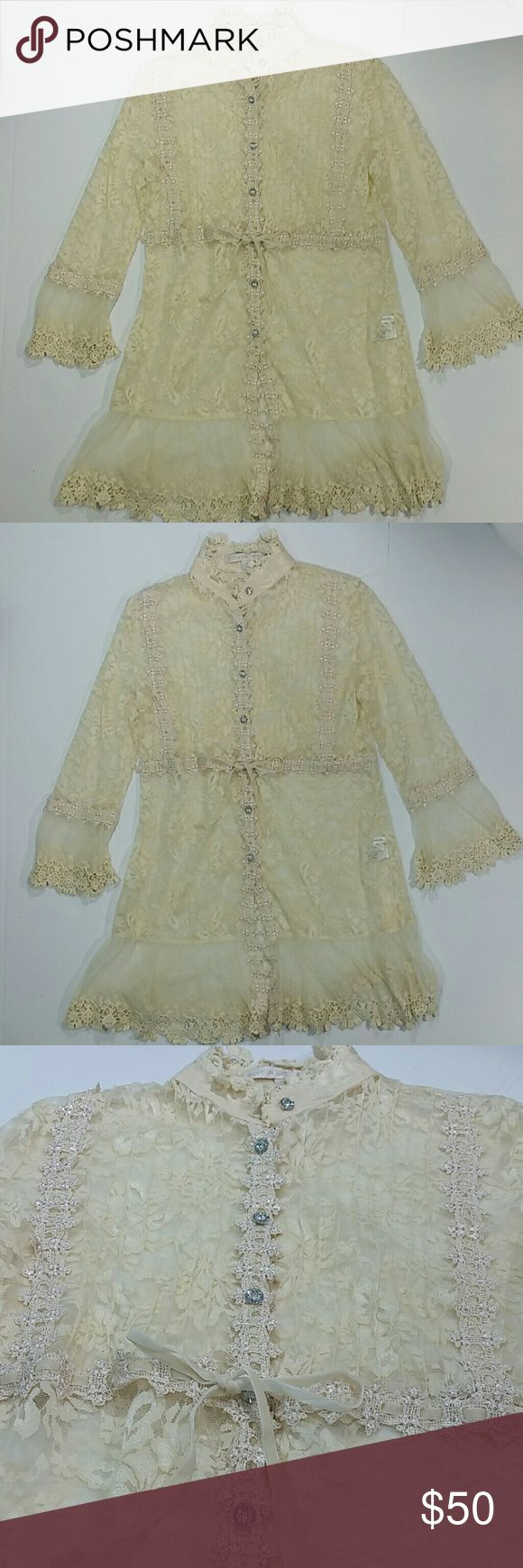 Boston Proper Shirt Lace Crochet Cardigan Top This is a gorgeous Boston Proper blouse shirt in size s small. This cardigan top is 100% polyester and is a cream color.  It has lace and crochet details, and jewel buttons down the front. There is also a ribbon that ties around the middle and is duster length. The body has some stretch to it. The peplum sleeves are 3/4 length. It has an elegant vintage Victorian look to it. It is used, but in good condition- signs of wear may be seen by photos…